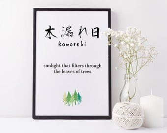 Japanese Art Print 'Komorebi' Japanese Wall Art, Japanese Print ,Japanese Wall Art, Kanji Japanese Calligraphy Wall Art, Komorebi Meaning
