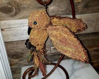 Golden Textile art soft sculpture bird, OOAK