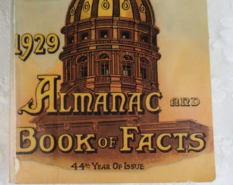 1929 Almanac and Book of Facts Facsimile Edition, published 1971- Vintage paperback reference book-  pre internet- reuse- recycle-scrapbook