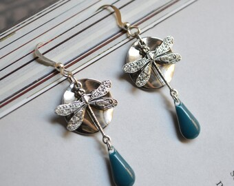 Silver and blue Dragonfly earrings