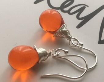 Orange Teardrop Earrings. Orange Hyacinth Drop Earrings. Sterling Silver Earrings. Gold Filled Earrings. Wire Wrapped Earrings. UK Seller