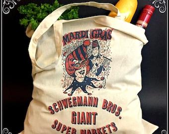 Canvas Schwegmann Bros Mardi Gras Tote Bag Metairie, Louisiana, NOLA