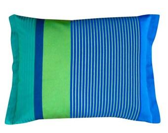 Designers Guild - green and blue stripe lumbar pillow