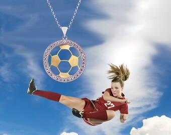 Sterling Silver Soccer Necklace, Soccer Jewelry