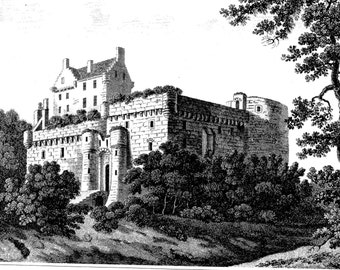 DALHOUSIE CASTLE Scotland UK Vintage Print from a 1859 Engraving - Ready to Frame!