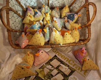 Upcycled Mama Chicks, Lavender Chicks, Baby Chicks, Upcycled Old Quilt Chick Pincushion or Basket Filler~Reuse, Repurpose, Remade, Old Quilt