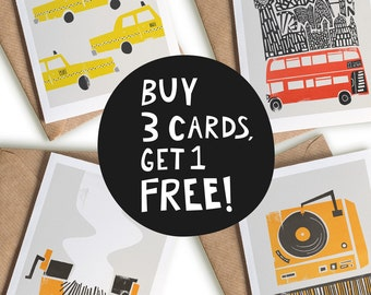 "Buy 3 Get One Free, Blank Greeting Card Set, Mix & Match, Set of Cards, A6 4x6"" Greeting Cards, Quirky Greeting Cards, Geeky Gifts"