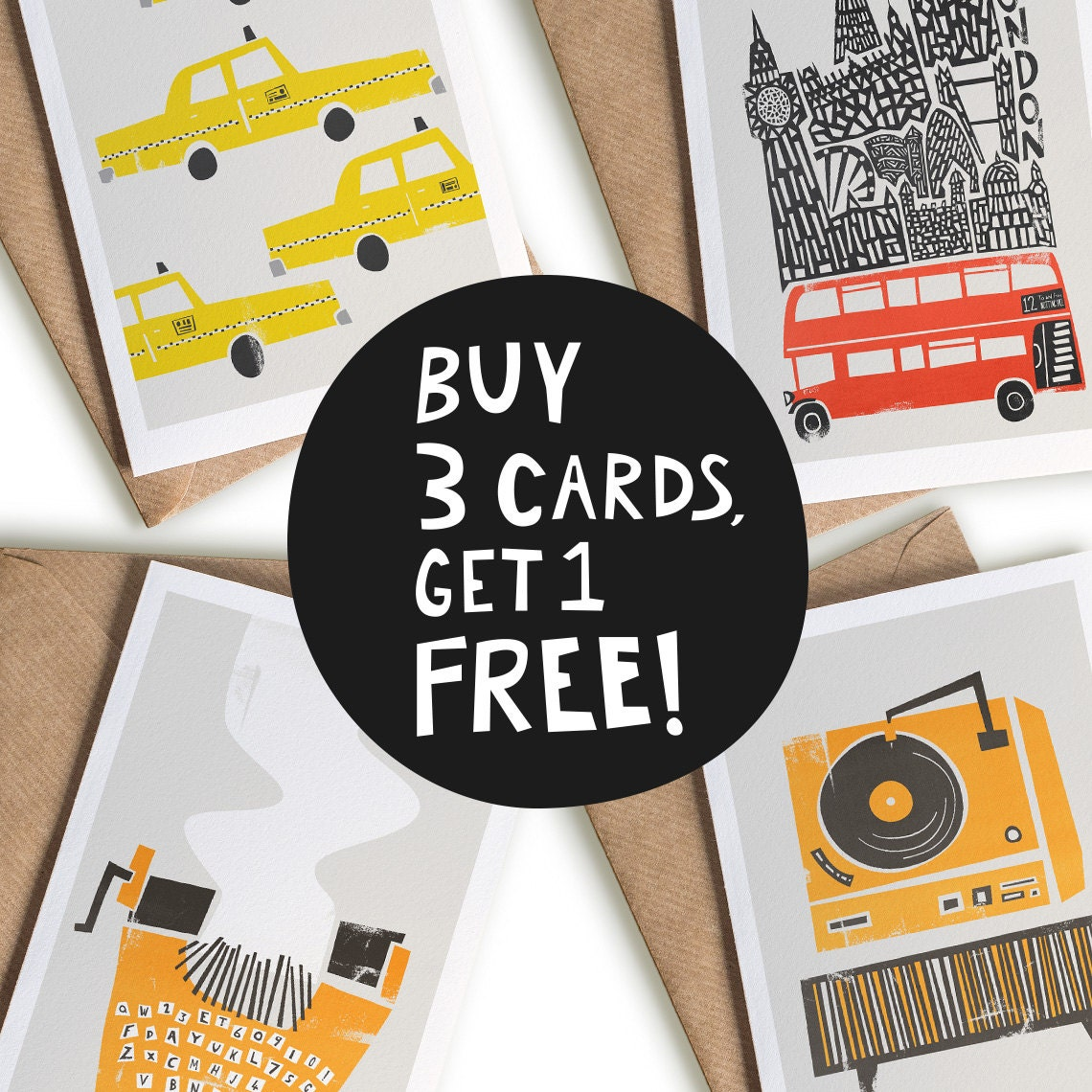 Buy 3 get one free blank greeting card set mix match set zoom kristyandbryce Image collections