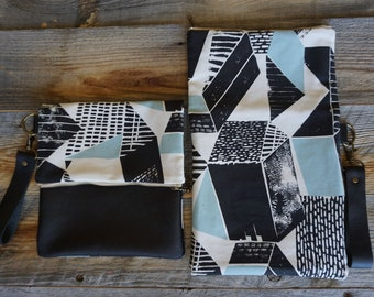 Leather Fabric Fold over Clutch ~ Zippered Clutch ~ Everyday Purse ~ Wristlet Leather Purse ~ Fold Over Clutch ~ Gift for Her