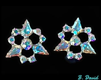 Vintage Earrings, Clip On, Aurora Borealis, AB Rhinestones, B. David, Dazzling, Sparkling