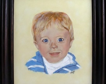 Child's portrait, Framed Portrait, children's portrait, pet portrait, handmade frame, many sized portraits