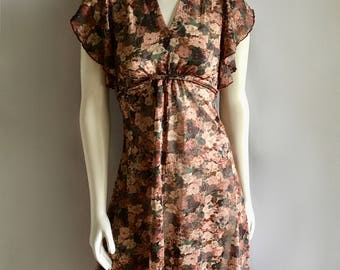 Vintage Women's 70's Boho, Sheer, Floral Dress, High-Low (XS)