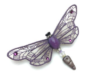 Jewelled insect pin, Swarovski crystal wasp, insect brooch, silver and lilac insect