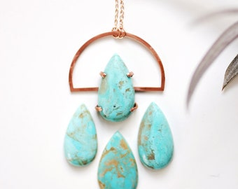 Turquoise Teardrop Arch Necklace | Turquoise Necklace | Turquoise Jewelry | Stone Necklace | Gemstone Necklace | Minimalist Jewelry | Copper