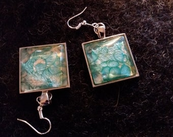 Earrings GITTA Square Cabochon Silver Turquoise Mauve