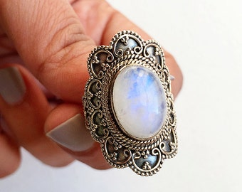 Rings * Moonstone Rings * Gemstone Rings * Statement Rings * Sterling Silver Ring * Flower Ring * Rainbow Moonstone * Blue Moonstone * Oval