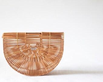 Bamboo Wood Slat Spring Summer Purse, Handbag, Vintage 70s