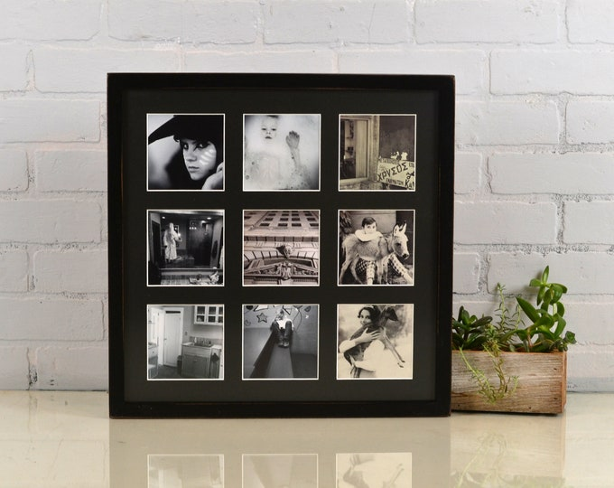 """Collage Frame 16 x 16"""" Deep Flat Style with Mat Windows for (9) 4x4 Photos in Vintage Black Finish - Same Day Shipping - 16x16"""" Frame"""