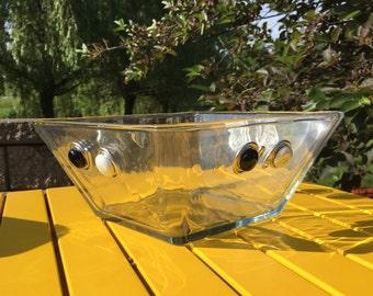 Large Square Glass Salad Bowl, Salad Bowl, Serving Bowl, Beaded Bowl, Hostess Gift, Glass Bowl, Housewarming gift, Black and White