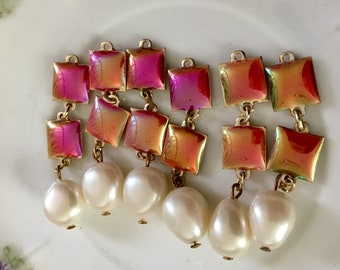 Vintage Pinkish Peach Findings that Glow with Large Faux Pearls color changing