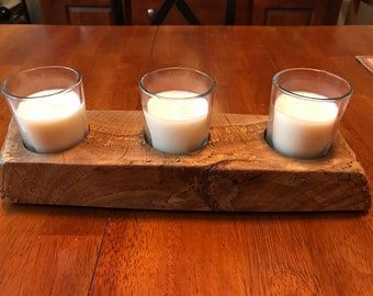 Natural Maple Wood Candleholder made from 100 year old tree