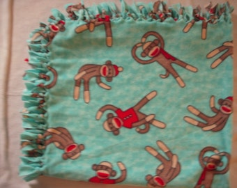 Sock Monkey NoSew Fleece Blanket