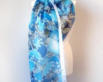 Hortensia scarf - silk scarf Hydrangea scarf - hand painted scarf - blue scarf - silk scarves blue kimono scarf - flower scarf - long scarf