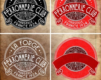 INSTANT DOWNLOAD - VECTOR Art - Vintage French Royal Ironworks Label - Vintage Print Transfer, Shabby Chic Furniture and Decoration #33