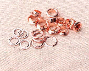 50pcs Round Eyelets Garments (13*7.5*5mm) Eyelets With Washers Rose Gold 2 Part For Leather Colthes