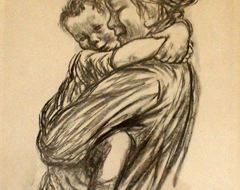 MOTHER AND CHILD  Pencil Sketch by nw Artist Jule Kullburg (1905 -1976)