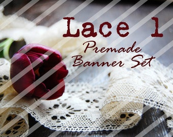 "Banner Set - Shop banner set - Premade Banner Set - Graphic Banners - Facebook Cover - Avatars - Bisiness Card - "" Lace 1"""