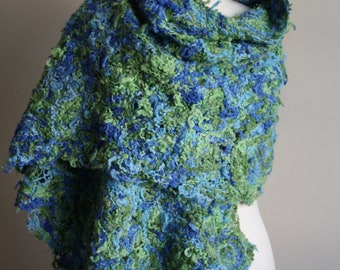 Sewn scarf Mix of greens and blues (crazy wool technique) FREE UK SHIPPING