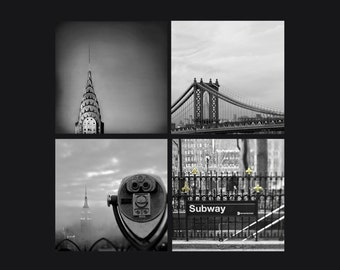 Travel Gift, New York Photography, Set of 4 Prints, Black and White, New York City Prints
