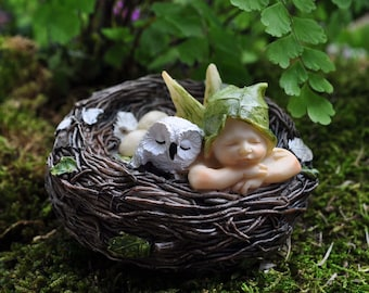 Sleeping Fairy Baby with Owl in Nest