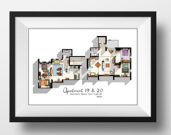 Friends TV Show Apartment Floor Plan- Friends TV Show Layout- The one with the floor plan-Apartment of Joey,Chandler,Monica and Rachel