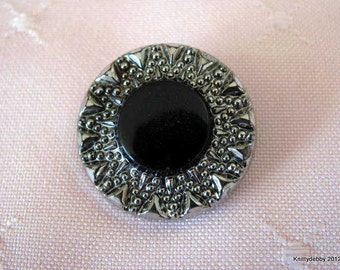 Vintage buttons Silver and Black  Glass with luster rim set of 6