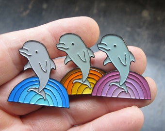 Dolphin Pin - Enamel Dolphin Pin - Rainbow Waves Pin - Ride the Waves