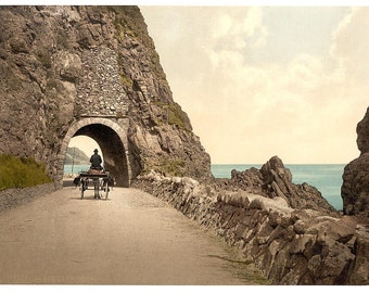 Black Cave Tunnel. County Antrim, Ireland] 1890. Vintage photo postcard reprint 8x10-up. Northern Ireland County Antrim