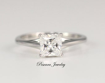 1.25ct Princess Solitaire Ring, Promise Ring, Man Made Diamond CZ Engagement Ring, Bridal Ring, Sterling Silver