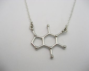 Caffeine Necklace, Molecule Necklace, Coffee Necklace, STEM Necklace, Chemistry Necklace, Caffeine Jewelry, Science Jewelry, Coffee Jewelry