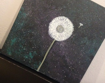 12 by 12 inch Galexy painting with dandelion!