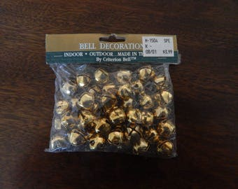 "Gold toned Jingle Bells, 5/8"", 40 bells  in package"