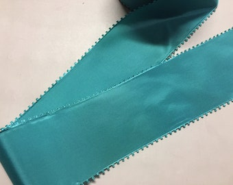 """Vintage Picot Taffeta in """"Sapphire Blue"""" - Swiss ribbon made of Rayon, 2 7/8 inches wide, price is per yard"""