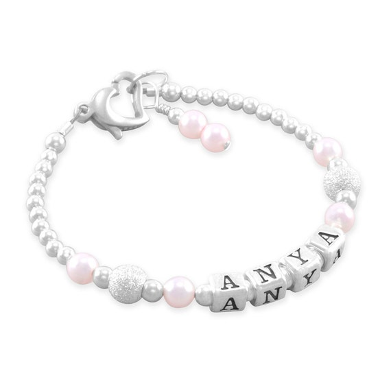 Baby Girl Gift Baby Name Bracelet Sterling Silver First