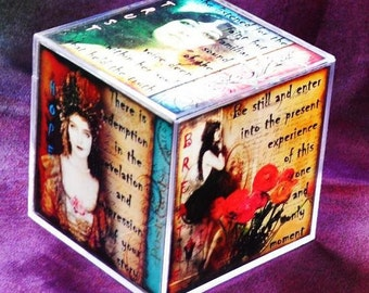 VINTAGE JOURNEY CUBE altered collage art therapy acrylic block square ptsd, trauma recovery inspirational hope