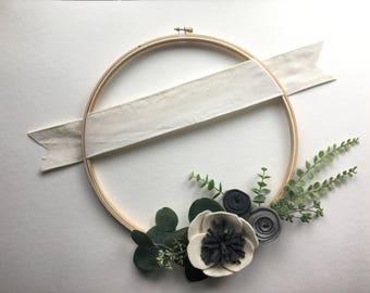 Personalized Modern Felt Flower Wreath // Modern Felt Flower Wreath on Embroidery Hoop // Felt Flowers on Wood Hoop by G & Tea