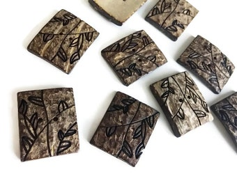 Rectangle coconut button set of 2 large natural carved button