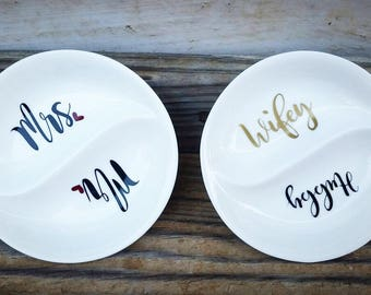 Ring dish, engagement gift, couples gift, hubby/wifey, engagement gift for couple, gift for bride, bridal shower gift,double ring dish