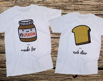 Made for Each Other,Nutella and a slice of bread matching,Couples T-Shirts SET, Couples Shirts, Gift For him, Gift For her, Gift for Couples