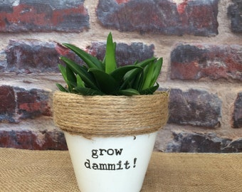 Plant pot gift 'grow dammit!' indoor novelty comedy funny planter- for succulent/cactus/plant